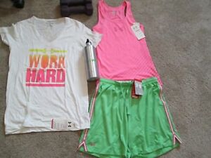 NEW Womens UNDER ARMOUR 3Pc Outfit Wht Tee+Pink Tank Top+Grn Shorts MD FREE SHIP