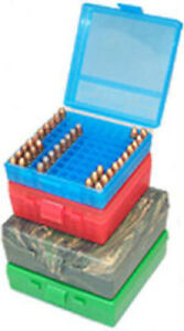 MTM Ammo Box 100 Round Flip-Top 41 44 45 LC Clear Red P-100-44-29