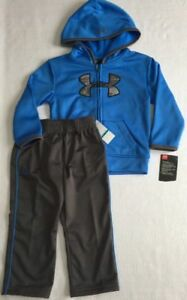 Under Armour Toddler Baby Boy 24M Track Suit Blue Gray Full Zip Hoodie Pants