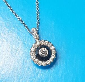 WHITE INSIDE BLACK Diamond .76 ctw HALO Pendant Necklace 18 kt White Gold 18