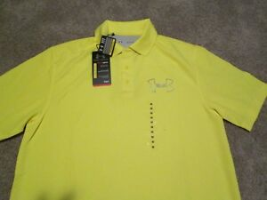 NEW Under Armour Mens Golf Short-Sleeve Coldblack Polo YELLOW MD FREE SHIPPING!