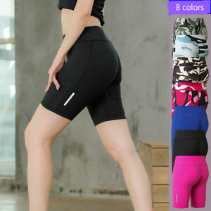 Women workout clothes outdoor sports shorts with night running reflective strips