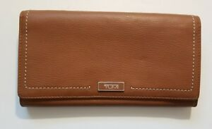 TUMI Tan Leather Tri Fold Women's Wallet