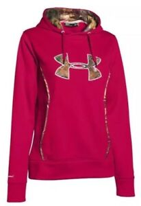 Under Armour Hoodie Womens L Pink Red Storm Realtree Camo Caliber 1247106 623