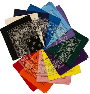 Styllion Paisley printed and solid color Bandanas 1 3 6 12 pieces $11.95