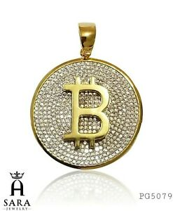 Luxury Bitcoin Gold Plated base 925 Sterling Silver Shine Lab Diamonds Pendant