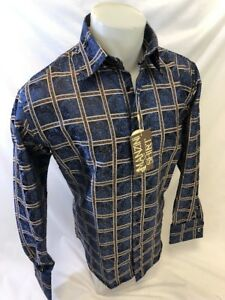 Mens MANZINI Button Down Dress Shirt BLUE GOLD PAISLEY Designer FRENCH CUFF 271