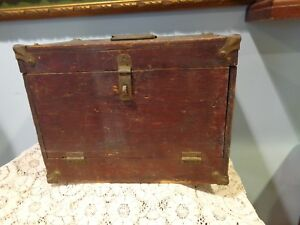 Antique Wood Fishing Tackle Box With Vintage Contents Original  Lure Making