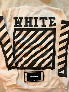 Off White co Virgil Abloh Crewneck Sweater White Size US Large