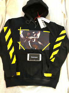Off White co Virgil Abloh Angel Wing YellowPaint hoodie Black Size US Small