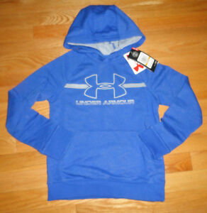 Under Armour Boys Hoodie Sweatshirt Pullover Blue Logo YSM 7 8 NWT $44.99