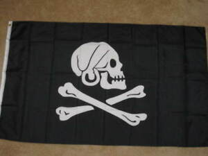 Henry Avery Black Pirate Flag Jolly Roger Skull Crossbones Banner Ship 3x5 Foot