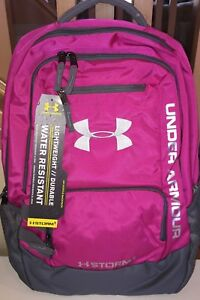 Girls Under Armour Storm UA Hustle Backpack Pink Grey New 15