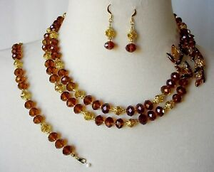 Handmade Amber & Gold Cocktail Statement Necklace Bracelet & Earrings