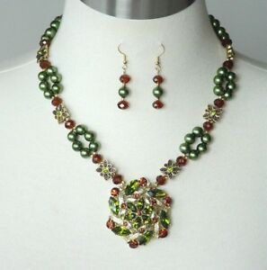 Handmade Moss Green Cocktail Statement Necklace & Earrings Repurposed Brooch