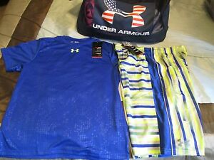 NEW Boys UNDER ARMOUR 2Pc OUTFIT BluYlw Shorts+Blue Ss Top YXL FREE SHIPPING!