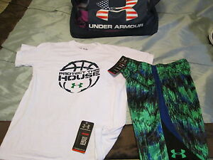NEW Boys UNDER ARMOUR 2Pc BASKETBALL OUTFITGrnBluWht Shorts+Tee YLG FREE SHIP