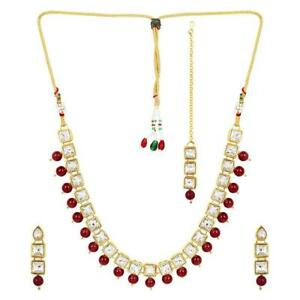 RED KUNDAN JEWELRY PARTY WEAR NECKLACE FOR WOMEN & GIRLS ETHNIC JEWELRY SET