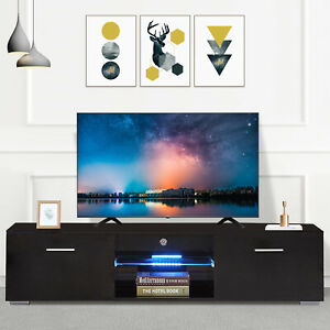 63'' High Gloss Black TV Stand Cabinet Console Furniture 2 Drawers LED Shelves
