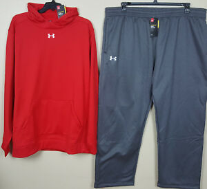 UNDER ARMOUR COLDGEAR STORM SUIT HOODIE + PANTS RED GREY WHITE NEW (SIZE 4XL)