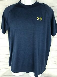 Under Armour Mens M Medium Heat Gear Navy Blue Short Sleeve Dry Fit T Shirt
