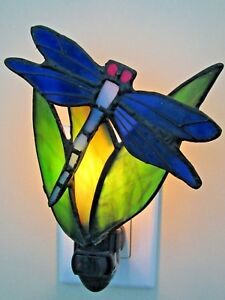 Stained Glass Nightlight Dragonfly on Greenery by Artist J J Peng Pre-owned
