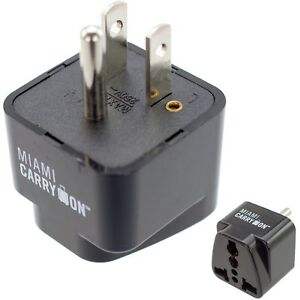 Miami CarryOn Universal Power Travel Adapter, UK / EU / AU / CN to US - Grounded