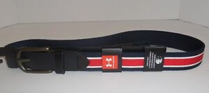 Under Armour Mens Size 40 Stretch Belt Navy Blue Red White New 1296404-409