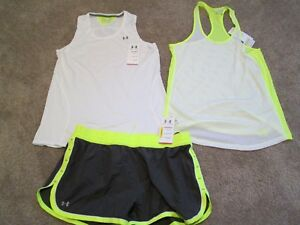 NEW Womens UNDER ARMOUR 3Pc RUNNING Outfit Tank+Sleeveless+Shorts LG FREE SHIP