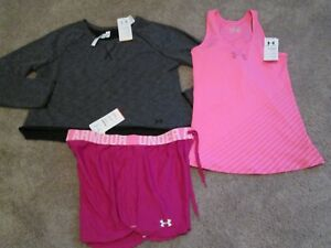 NEW Womens UNDER ARMOUR 3Pc ATHLETIC Outfit Tank+Shorts+Ls Cut Wst LG FREE SHIP