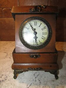 Desktop Folding Clock In Wooden Box w Drawer Antique Reproduction 9