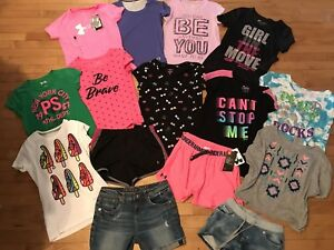 Girls 15 Pc Under Armour Justice PS Nike Summer Lot Shorts Tees Few NWT 10 12