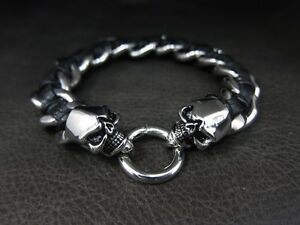 Luxury Men Silver Skull Black Leather Chain Bracelet for Hard Rock Rider TB165
