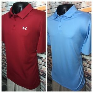 Lot Of 2 Under Armour UA Loose Fit Heat Gear Blue Red Polo Shirts Mens XL