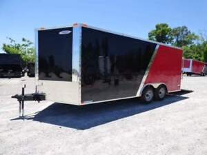 Enclosed Trailer 8.5#x27;x18#x27; Red amp; Black Car Hauler
