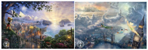 Thomas Kinkade SET 2 Open Edition DISNEY prints Tinkerbell & Pinocchio