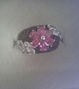 Black Spinel Pink Tourmaline and White Topaz Flower Ring (Size 6) BEAUTIFUL!