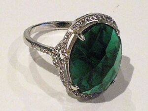 NEW GREEN ONYX WHITE TOPAZ 925 STERLING SILVER RING SIZE 8 STUNNING!