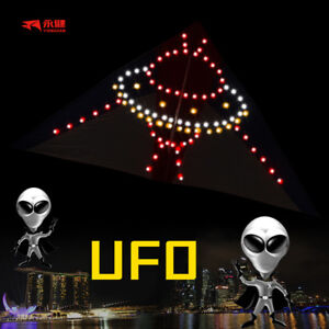 LED Kite UFO Night Light Kite Outdoor Sports Toy Good Flying Kite Handle New