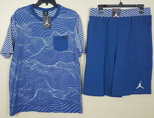 NIKE AIR JORDAN XII 12 OUTFIT SHIRT + SHORTS FRENCH BLUE RARE NEW (SIZE LARGE)