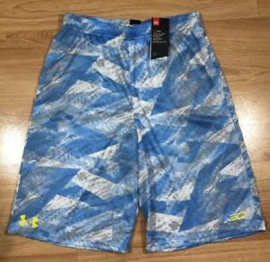 NEW UNDER ARMOUR Shorts Youth XL Loose Stehen Curry Blue And Yellow $34.99