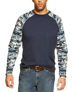 Ariat Flame Resistant Camo Baseball Long Sleeve T-Shirt Navy XX-Large