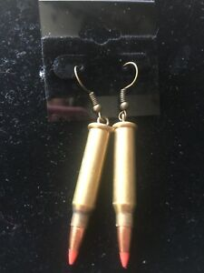 """BULLET PIERCED HANGING BRASS EARINGS. AWESOME! 2"""" drop bullets! Brand New"""