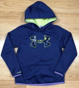 UNDER ARMOUR STORM1 Hoodie Youth Medium Loose Purple Neon Yellow