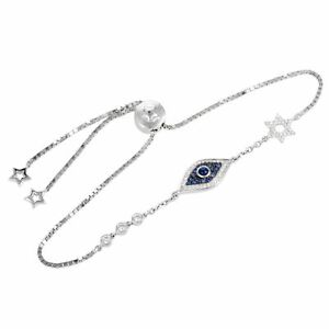 18K White Gold Diamond Sapphire Evil Eye and Star of David Bracelet