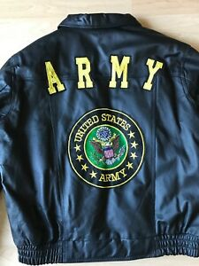 Men's Leather Bomber Jacket Removable Lining Army Patches and Embroidery New