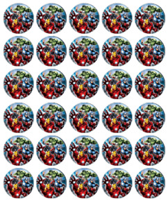 AVENGERS ASSEMBLE BIRTHDAY WAFER CUPCAKE FAIRY CAKE TOPPERS DECORATIONS x 30 GBP 2.25