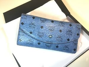Authentic MCM Women Petal Visetos Long Wallet Trifold Leather Blue Myl5spt30le
