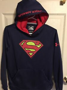 BOYS GIRLS YOUTH UNDER ARMOUR SUPERMAN STORM LOOSE HOODIE SWEATSHIRT YLG LARGE