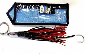 Tormenter SUPER SMOKER Trolling Lure Rigged w Cable & Hook in Bag - BLACK RED
